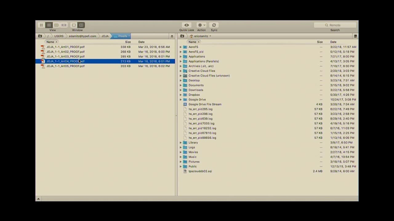 Screenshot of Eric's FTP showing the folder where the newly created PDF Proof files have been stored.