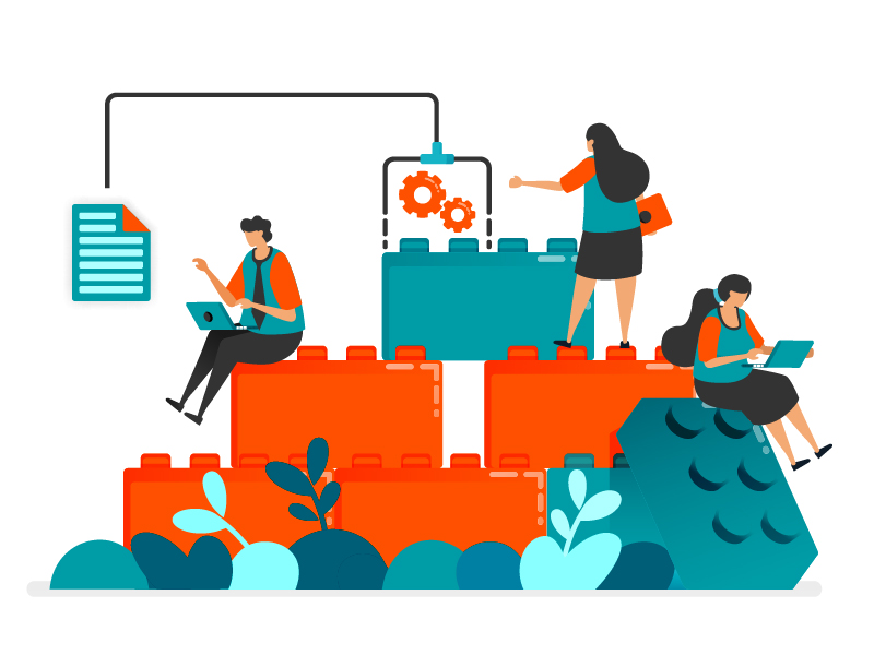 An illustration of people sitting on a pile of LEGO blocks. They are working separately but are connected by technology.