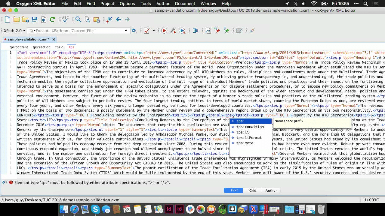 A CXML file in Oxygen XML Editor. A pop-up is open that shows the available tps tags for ordered lists.